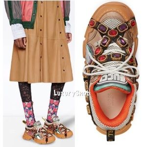 Gucci Flashtrek Crystal Metallic Leather Sneakers